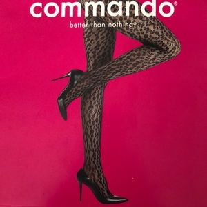 Leopard Net Tights Commando Pantyhose S Small New